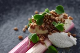 braised-rhubarb-vegan-ricotta-sorrel-and-crispy-spelt-food-drink-photography-berlin